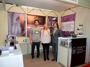George Yfantidis, Katerina Yfantidou and Victoria Samanidou at Yfantia Terra's stand at the 26th DETROP exhibition in Thessaloniki