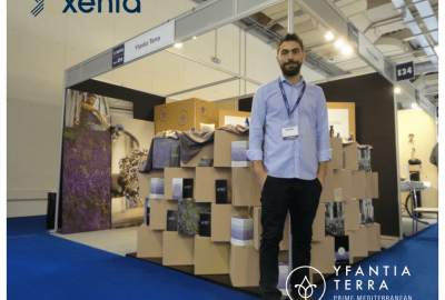 George Yfantidis at Yfantia Terra's stand during 2017 Xenia Trade Show