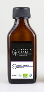 Yfantia Terra | Organic olive oil, organic infused salvia in 100ml bottles